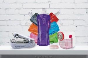 Minimáquina de costura, papa-bolinhas e garrafa Vapur