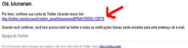 Email de confirmação do Twitter