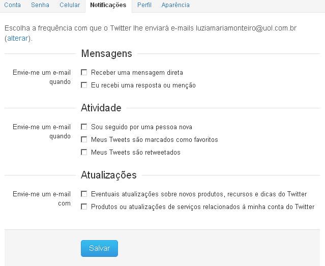 Página de notificação do Twitter