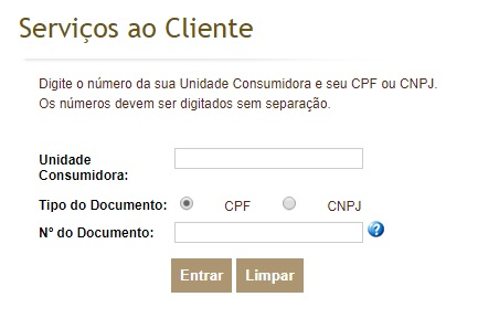 Print da página de login do site de serviços ao cliente Celesc
