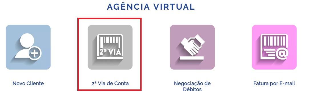 Print da pagina Agência virtual para consultar, imprimir a segunda via Compesa
