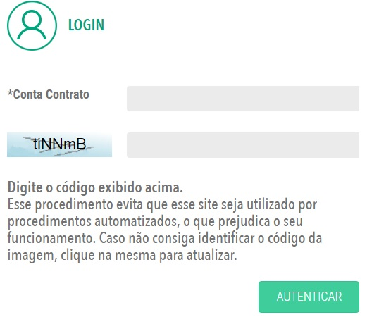Print da página de login para consultar a 2 Via Cosern