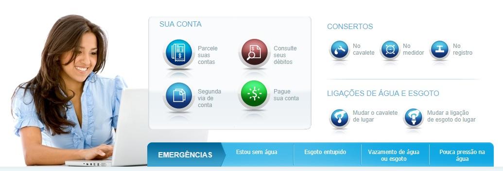Print da home do site da Agência Virtual da Sabesp