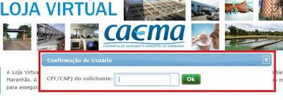Print da Pagina de acesso à Agência virtual Caema
