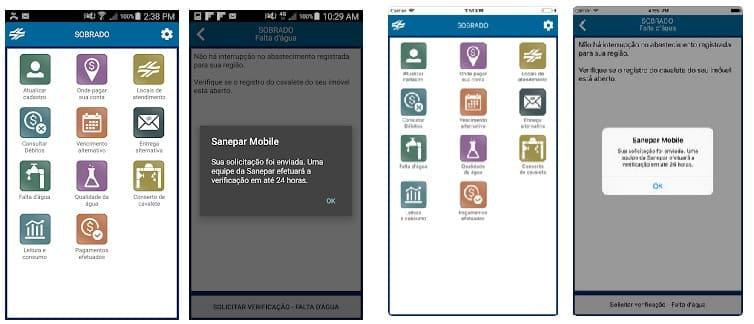 Imagens do Aplicativo Sanepar