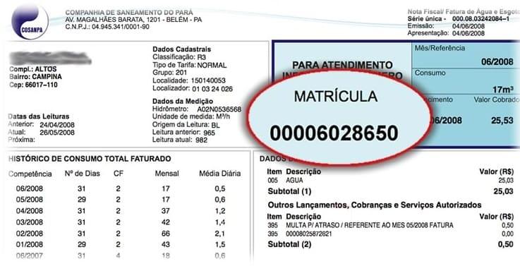 Foto da Conta de água da Companhia de Saneamento do Pará