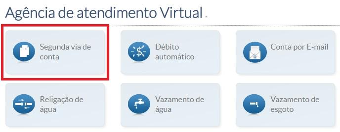 Imagem da pagina da Agência de atendimento virtual - Copasa 2 via