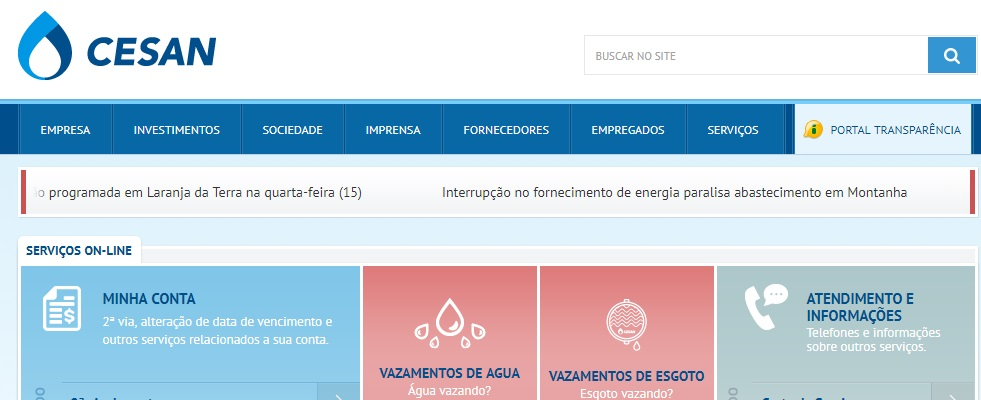 Print da Home do site Cesan
