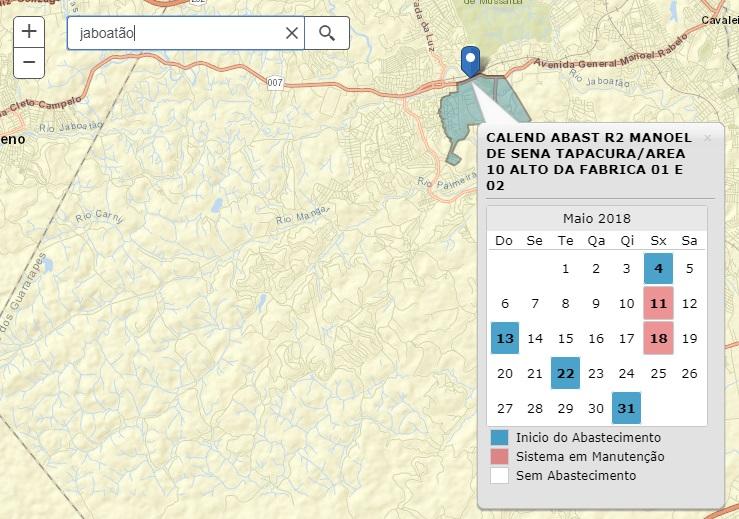Mapa com calendário de abastecimento da Compesa