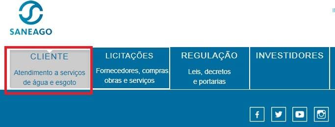 Print do Menu Cliente - Atendimentos a serviços de água e esgoto