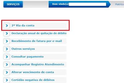 Print da Página de acesso a 2 via da conta Caema na agência virtual