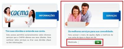 Print da Página de acesso a Agência Virtual Caema