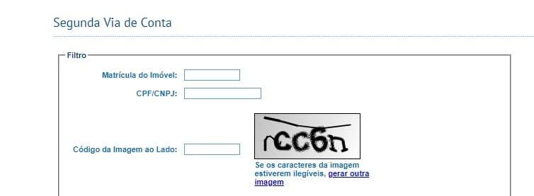 Print da Página de acesso a Segunda via de conta Cesan