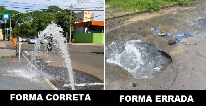 Foto de vazamento de água na rua