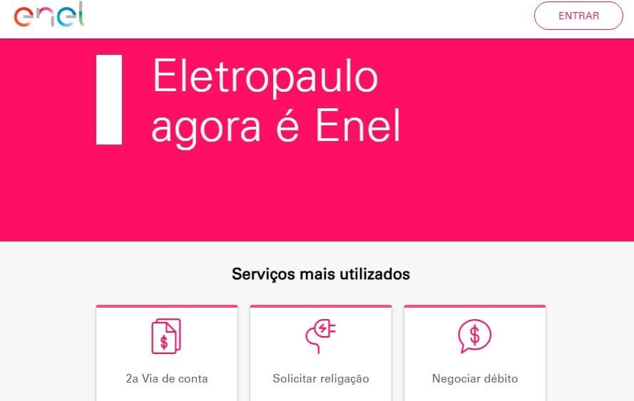 Print da home do site da Agência virtual Enel