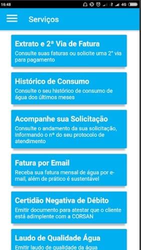 Print do Aplicativo CORSAN - Cia RS de Saneamento