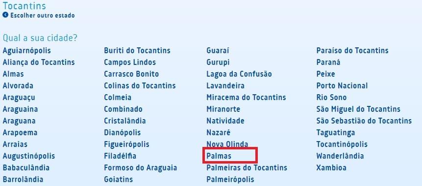 Print com o nome das Cidades do Estado do Tocantins