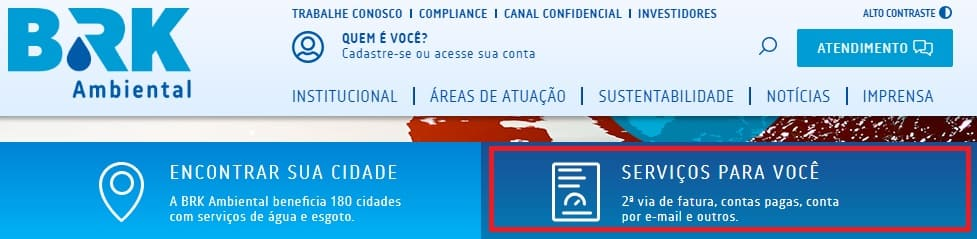 Print do Site da BRK Ambiental