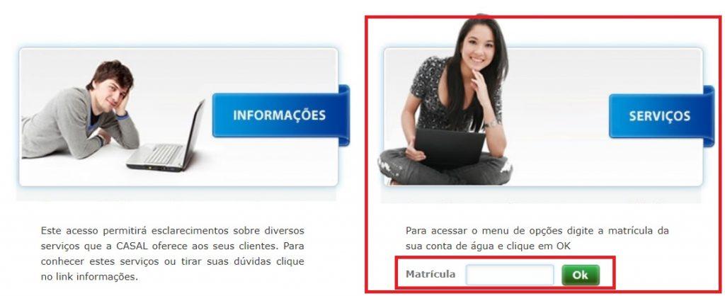 Página de acesso a agencia virtual casal