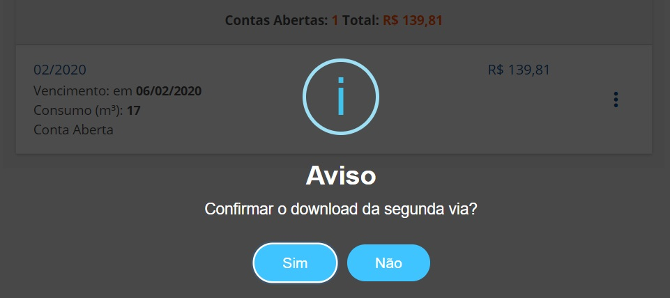 Imagem da pagina de download da Embasa segunda via