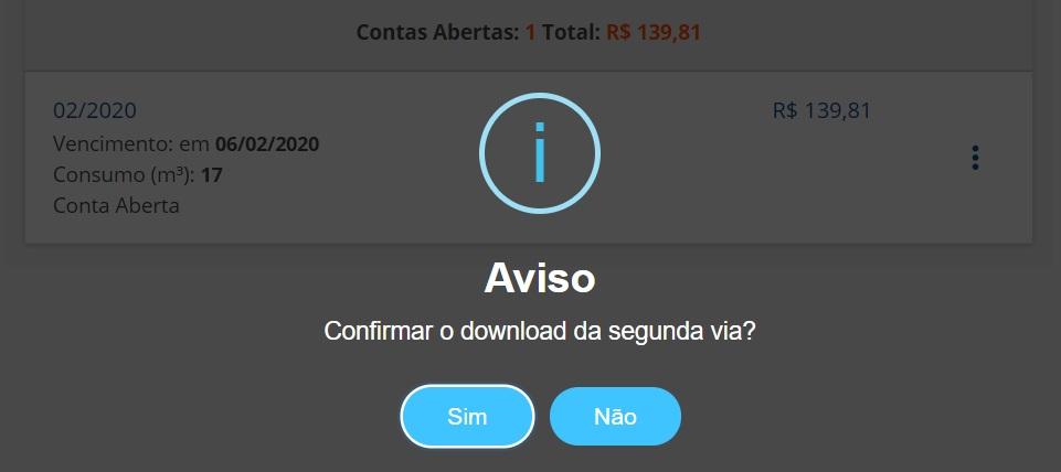 Imagem da pagina de download da 2 via conta Embasa