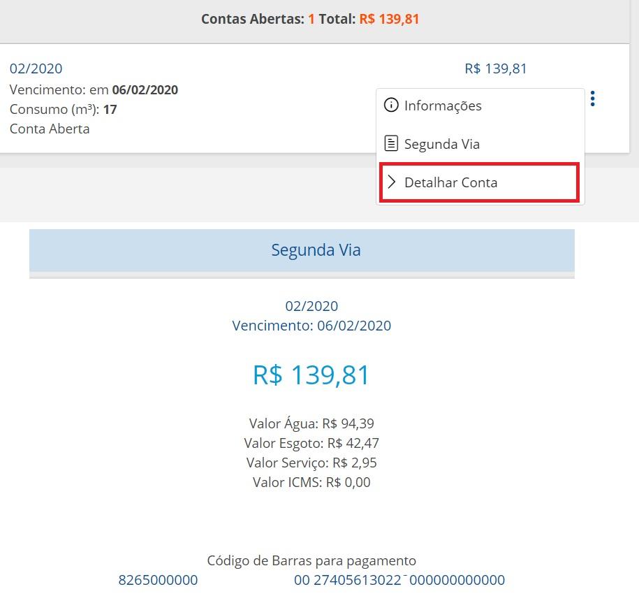 Código de barras para pagamento da segunda via Embasa