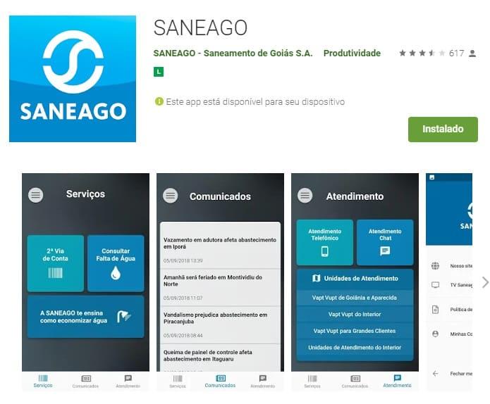Print de algumas imagens do Aplicativo Saneago