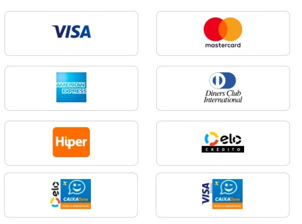Foto das Bandeiras dos cartões de crédito aceitos para pagar a Equatorial PI 2 via