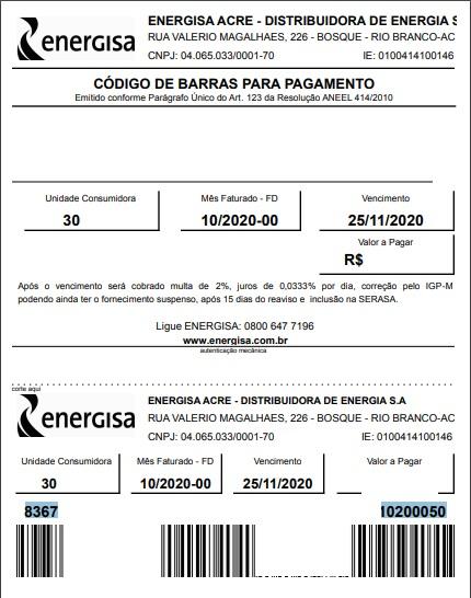 Print do Boleto com código de barras da conta de luz do Acre