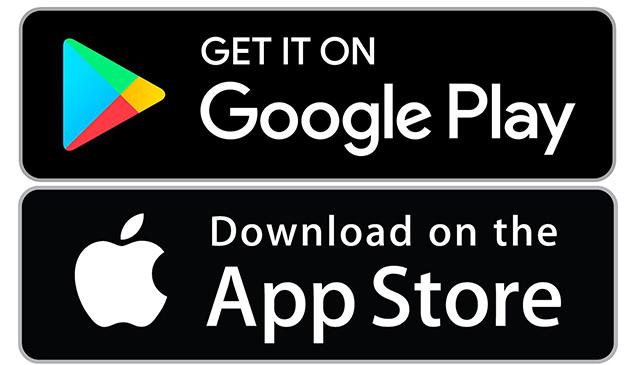 Imagem dos Botões acesso das lojas de aplicativos da Google e da Apple