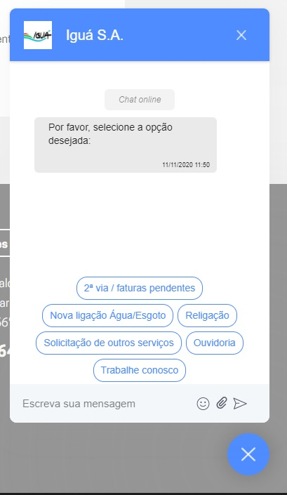Print do Chat online da Águas Cuiabá no site oficial
