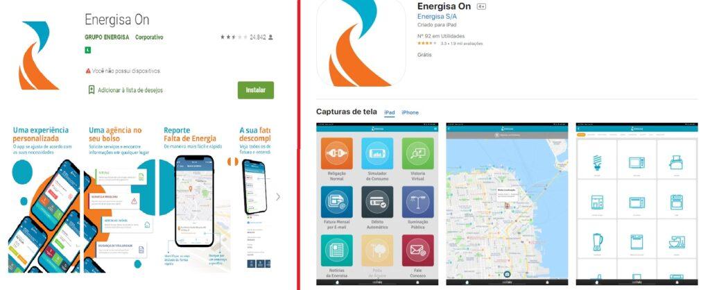 Imagens do Aplicativo Energisa ON nas lojas Google Play e App Store