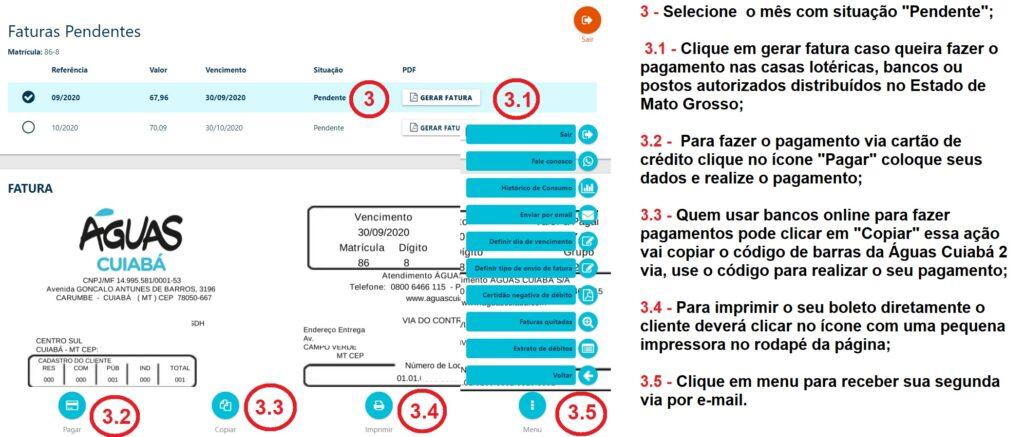 Print da Pagina com todos os detalhes sobre a Águas Cuiabá 2 via