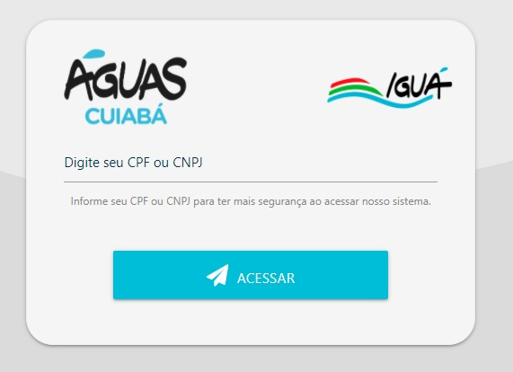 Print da Pagina de Acesso a Águas Cuiabá 2 via