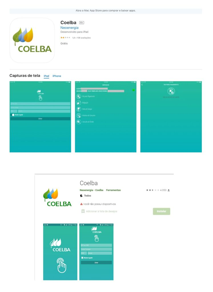 Print do Aplicativo Coelba no Google Play e Apple Store