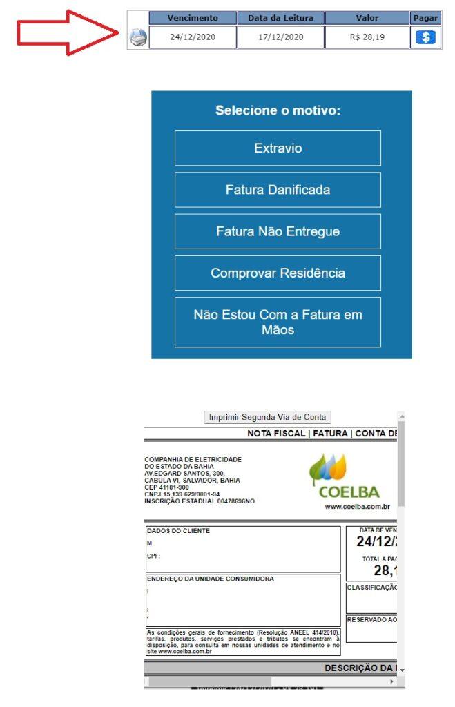 Print do Local para imprimir a Coelba 2 via boleto