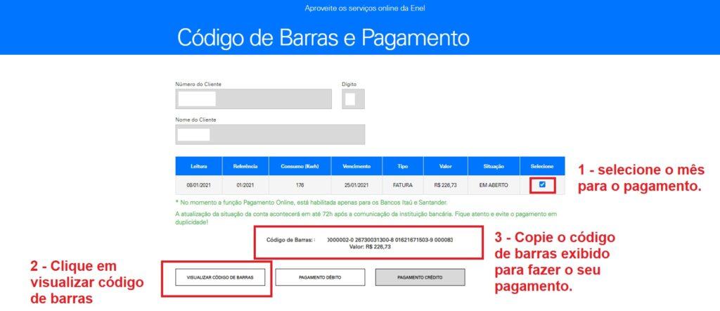 Print da Página do código de barras para o pagamento da Enel segunda via Ceará
