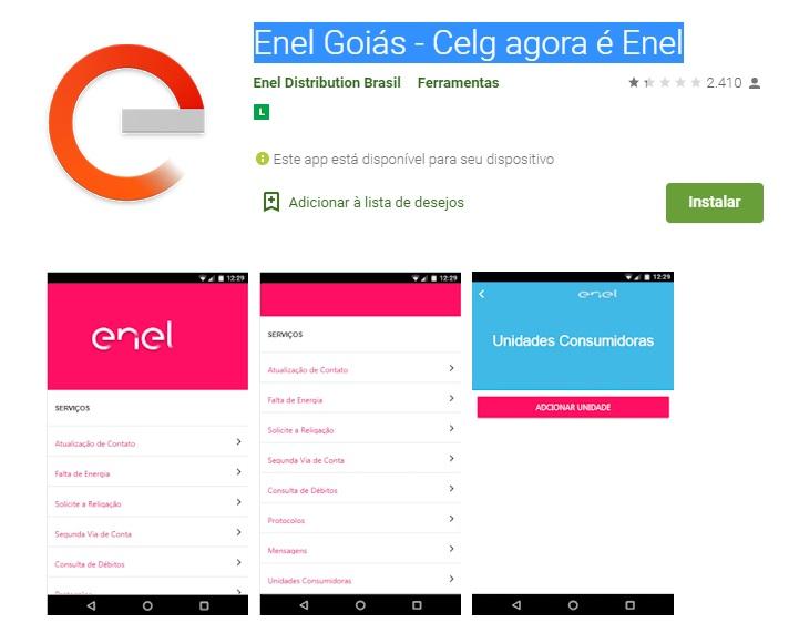 Print do Aplicativo Enel Goiás - Celg agora é Enel para Smartphone com sistema Android