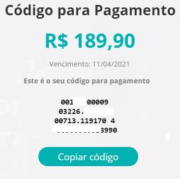 Print do Código de barras para o pagamento