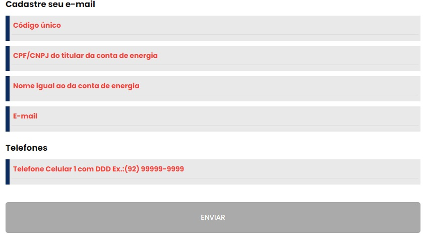 Print do Formulário de cadastro para receber e-mail com a conta de luz - Amazonas Energia 2 via fatura