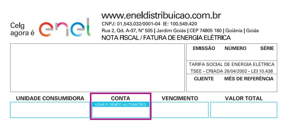 Print do Local da conta de luz Enel Goiás onde está o código para débito automático
