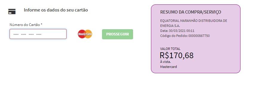 Print da Pagina para informar dados do cartão pra pagar a Equatorial Energia MA