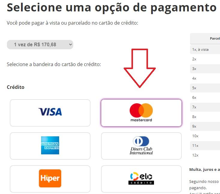 Print da Pagina para selecionar cartão e quantidade de vezes do pagamento