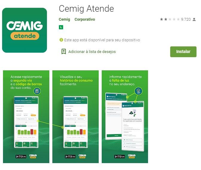 Print do Aplicativo Cemig Atende para Android