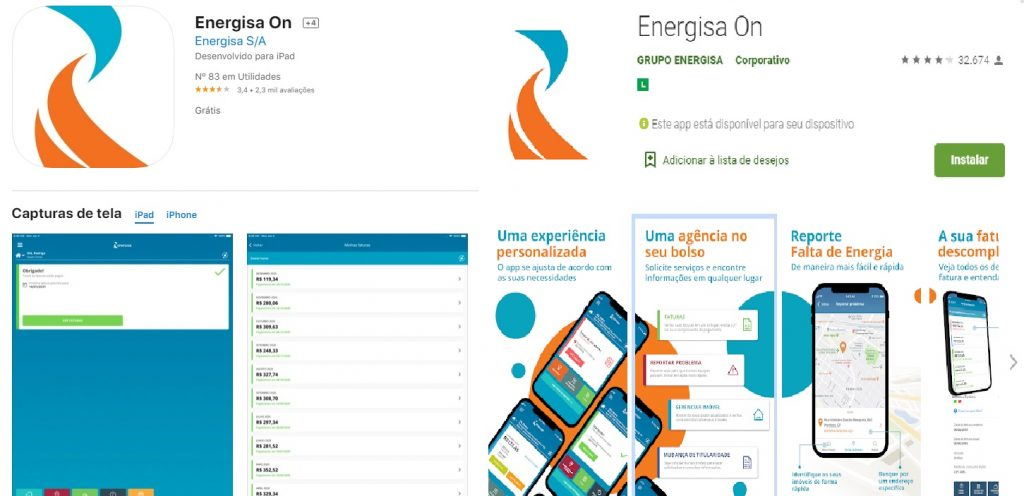 Imagem do app da companhia de luz para sistema IOS e Android