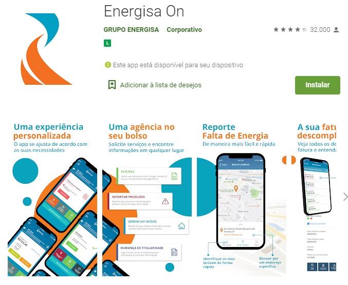 Print do Aplicativo Energisa On na Google Play