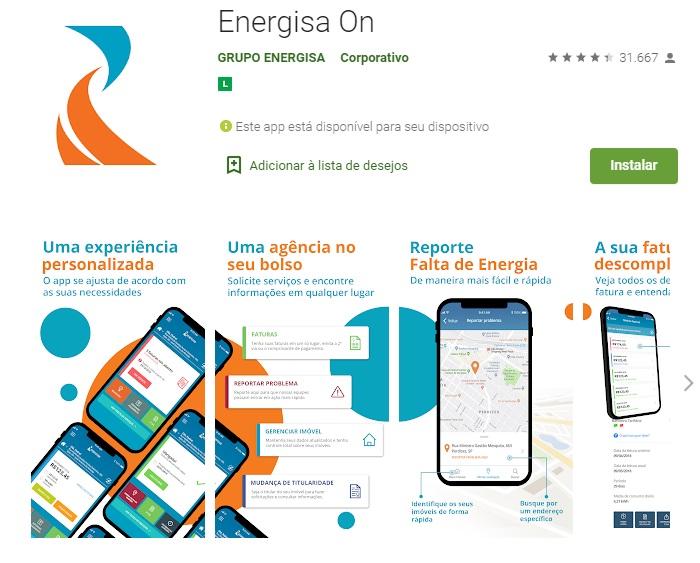Print do Aplicativo Energisa on