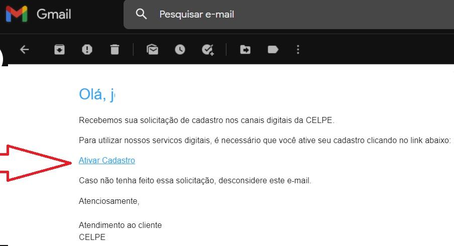 Print do E-mail de confirmação do cadastro na agência virtual da Celpe