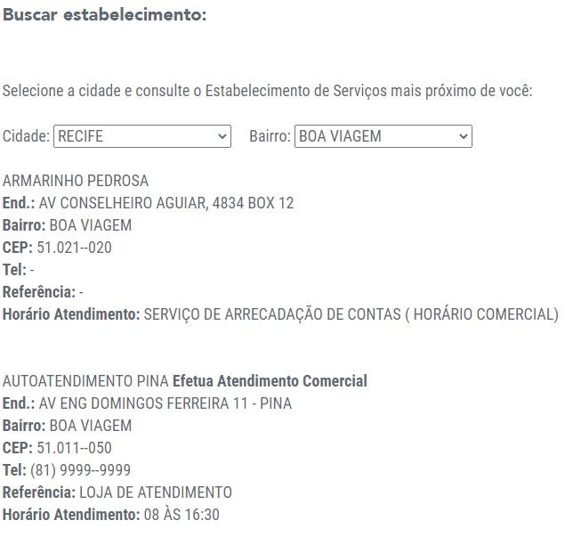 Print do Endereço de locais credenciados para o pagamento da Celpe segunda via de conta