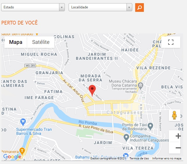 Print do Mapa com Agencias de atendimento da companhia de luz da Paraíba